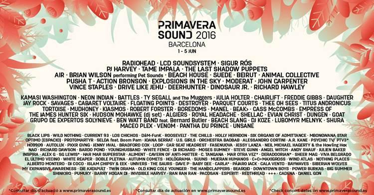Cartel del festival Primavera Sound
