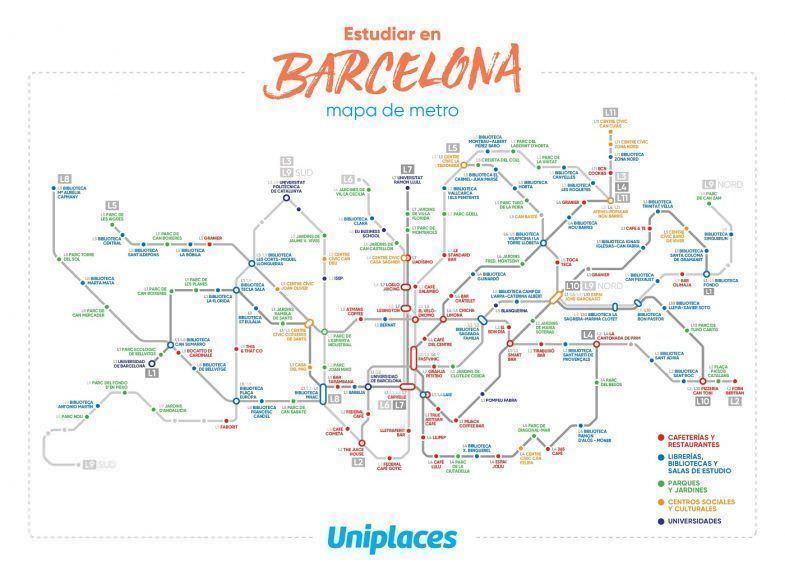 mapa para estudiar en Barcelona