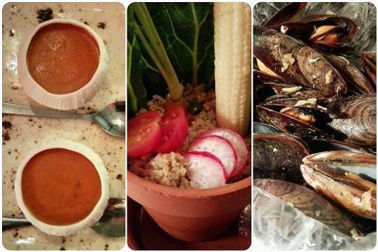 Crema de erizos de mar / Cuscus y verduras / Mejillones con jengibre y cítricos