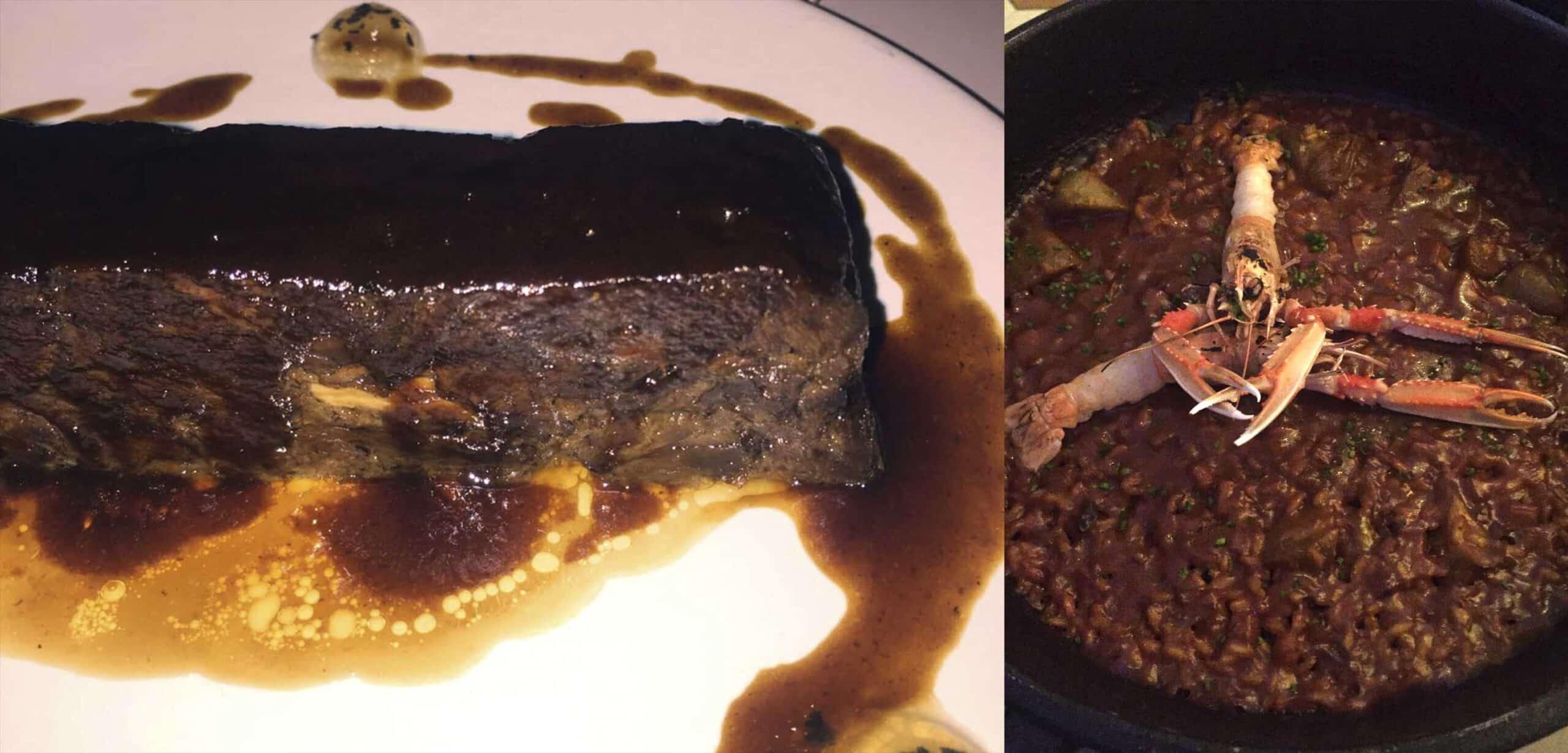 Lingote de ternera con foie y trufa y Arroz de sepia y cigala con alcachofas del Prat