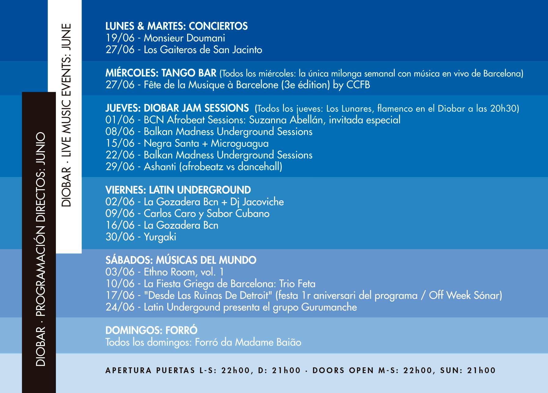 Agenda de conciertos Diobar