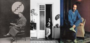 El pensador Francesc Pujols, el artista Ocaña y el cantautor Lluís Llach, en el inmueble.