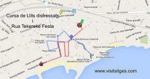 Mapa con el recorrido de la carrera de camas (cursa de llits).