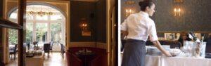 Una de las salas privadas (izqda) y salón principal del Restaurante Rilke (dcha)
