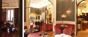 Una de las salas privadas con reserva previa (izqda) y salón principal de Rilke (dcha).