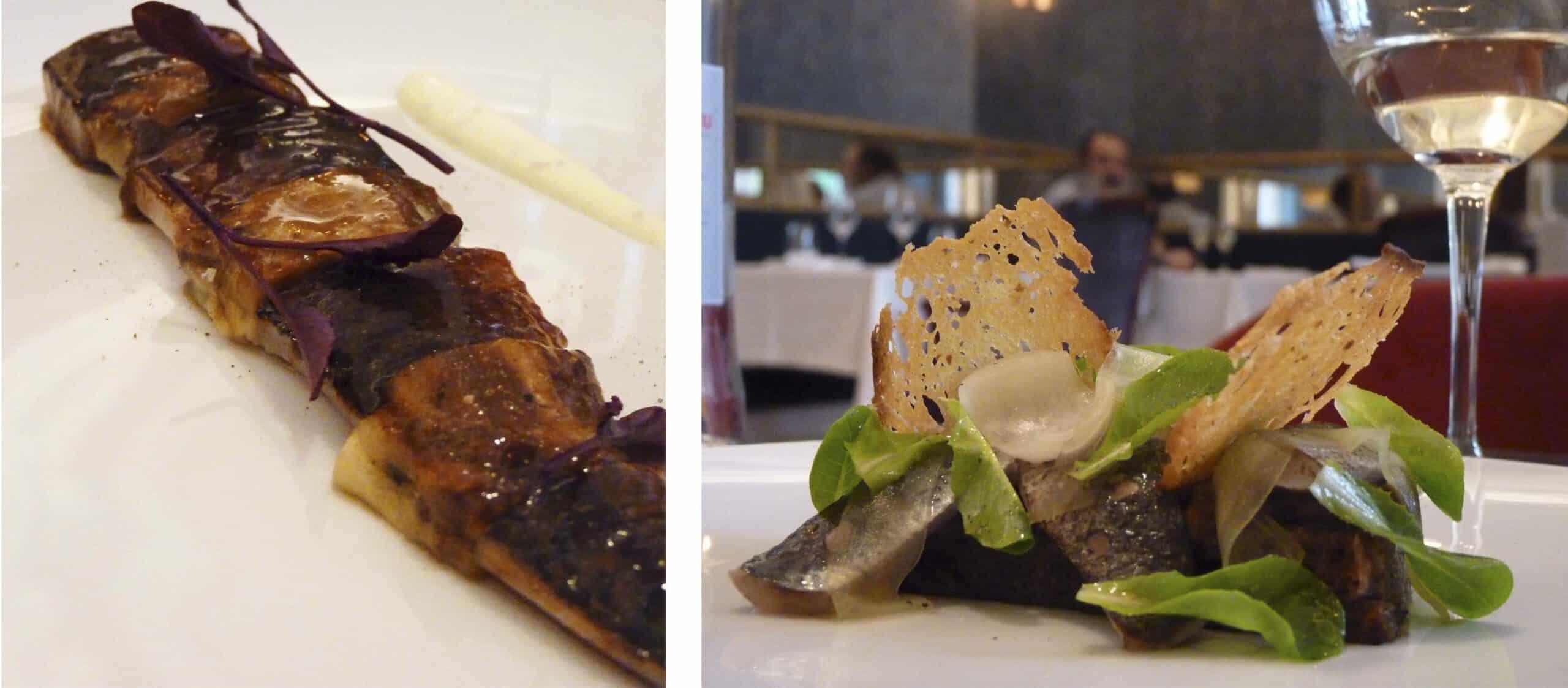 Caballa con berenjena y crême fraîche y Torrija de escalivada, sardinas y sofrito