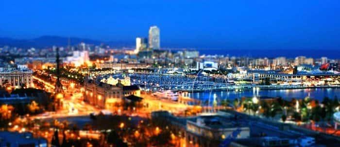 skyline barcelona noche