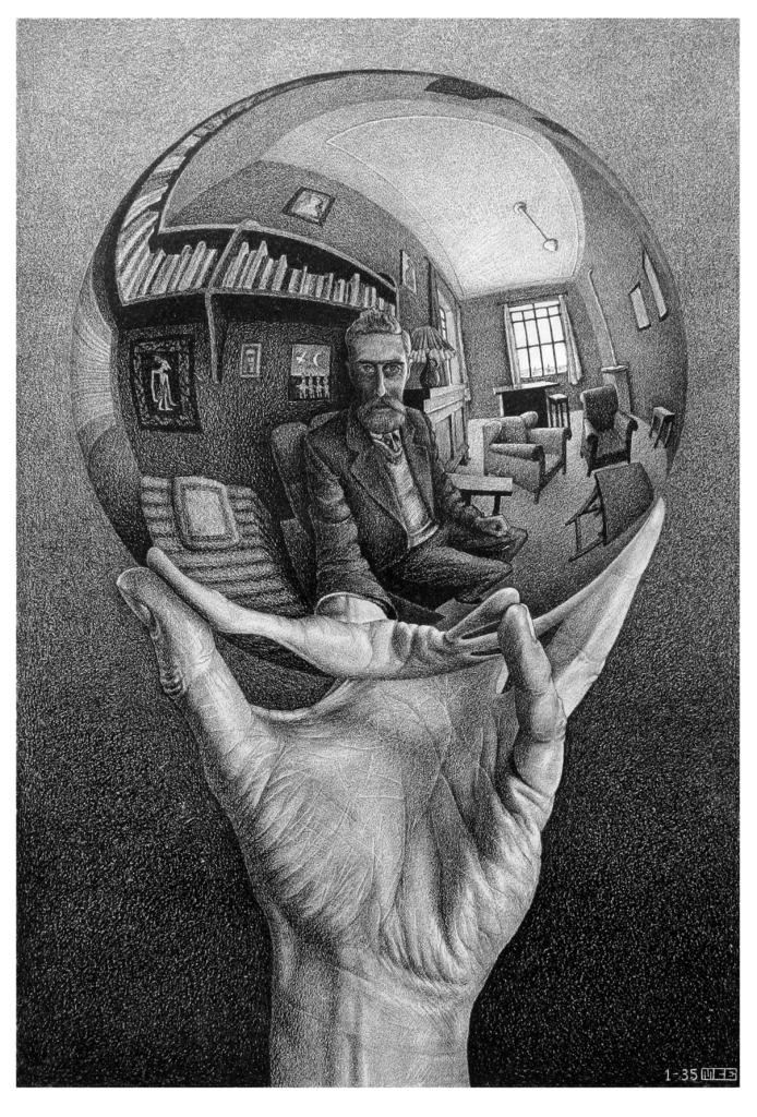 Escher Mano con esfera reflectante